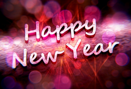 Metallic Happy New Year text with pink caustics and bokehs