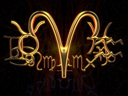 Sign of the zodiac - Aries, 3d illustration 版權商用圖片