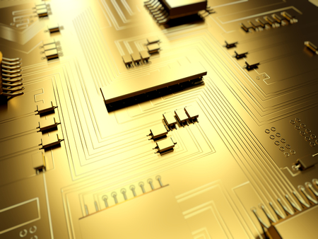 Close-up of a golden electronic circuit