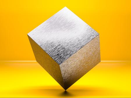 Metallic cube balanced on a corner Imagens