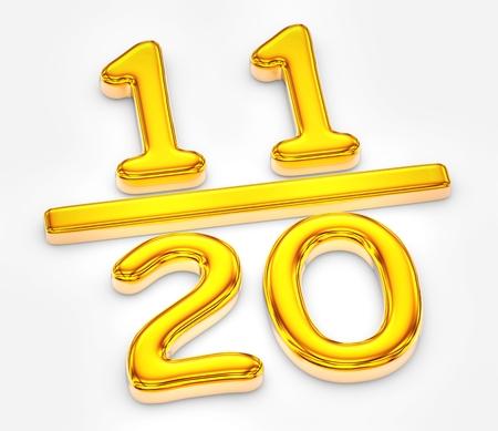 Golden score of eleven out of twenty illustration Banco de Imagens