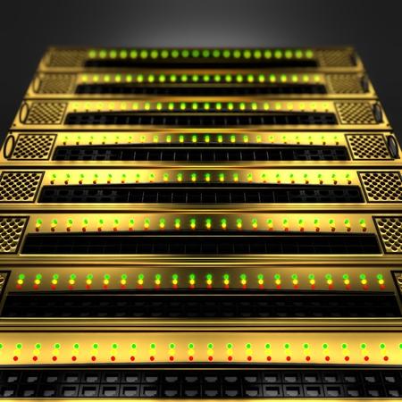 Stack of golden servers on black background Stock Photo