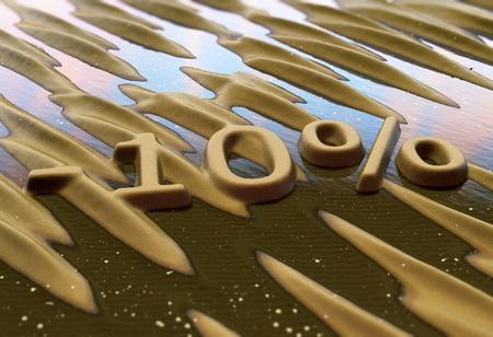 Ten percent reduction written on sand. 3d illustration