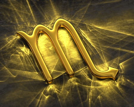 Sign of the zodiac in gold with caustics - Scorpio
