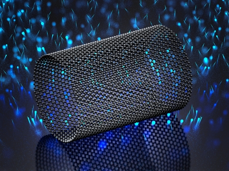 Closeup on a graphene tube with moving blue photons Foto de archivo