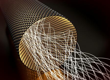 Closeup on a graphene tube transporting light