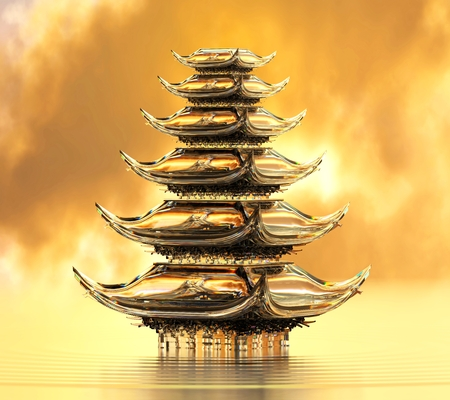 Glassy japanese temple on water. Crystal material Stockfoto