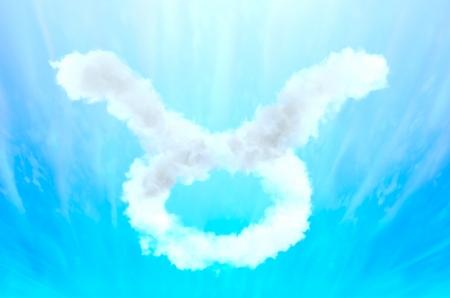 Astrology symbol in cloud material - Taurus