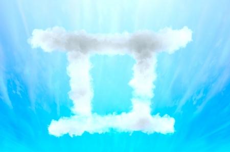 Astrology symbol in cloud material - Gemini