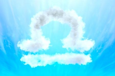 Astrology symbol in cloud material - Libra Stock Photo