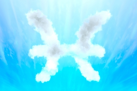 Astrology symbol in cloud material - Pisces