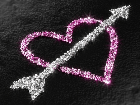 Heart and Cupid's Arrow made of diamonds on black concrete background