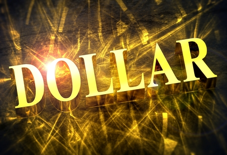 Golden 'DOLLAR' word with caustic