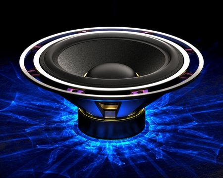 Big bass speaker with caustics light effect