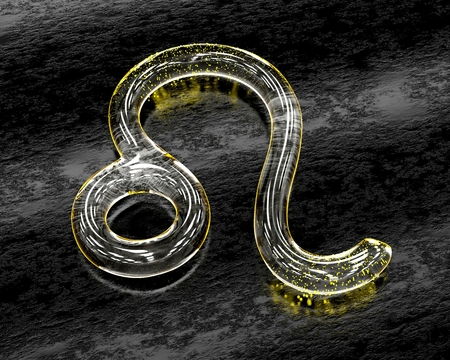 Astrology symbol in glass with yellow particles - Leo