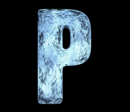 Ice letter 'P' with cracks and bumps