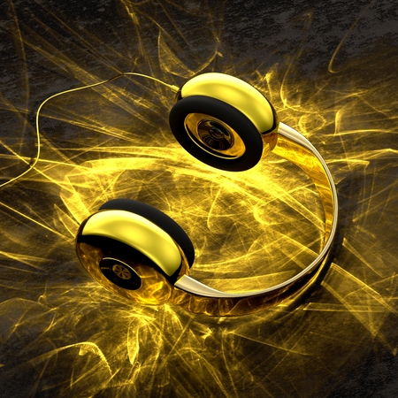 Golden headphones with caustics light effect