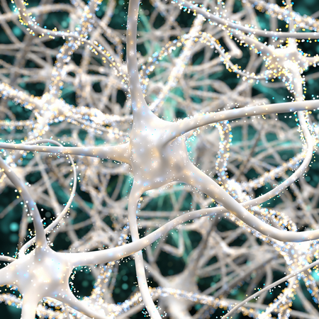 Close-up on white neurons with particles Stockfoto