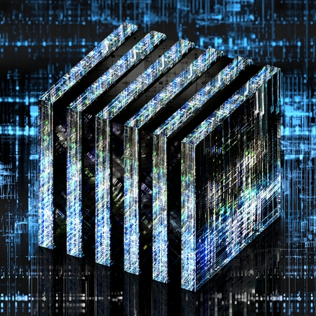 Ordinateur quantique futuriste en forme de cube