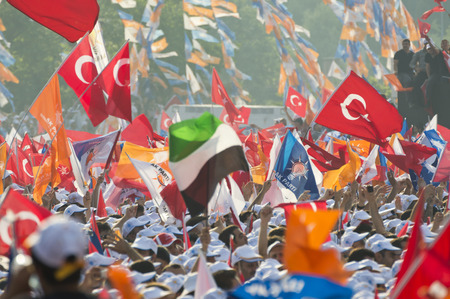 addressed: Istanbul, TURKEY - June 16, 2013: President Recep Tayyip Erdogan addressed millions at Respect to National Will rally in Kazlicesme-Istanbul.