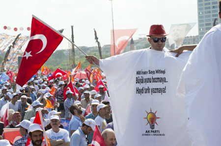 millions: Istanbul, TURKEY - June 16, 2013: President Recep Tayyip Erdogan addressed millions at Respect to National Will rally in Kazlicesme-Istanbul.