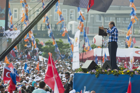 Istanbul, TURKEY - June 16, 2013: President Recep Tayyip Erdogan addressed millions at Respect to National Will rally in Kazlicesme-Istanbul.