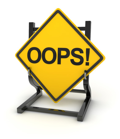 oops: Road sign writing on oops! Stock Photo