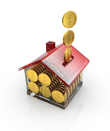 money box: Money box and golden coin