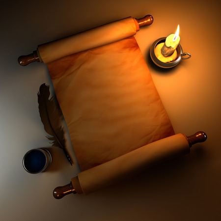 candle light: Scroll of old parchment and candle