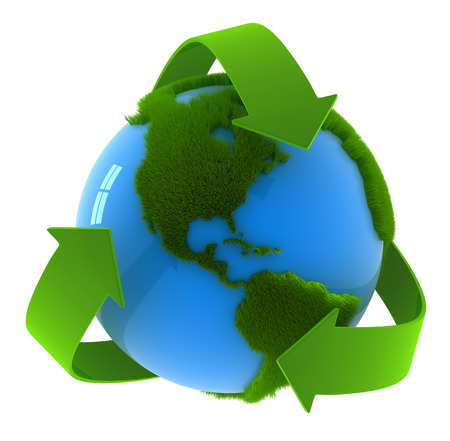 World map with recycle symbol