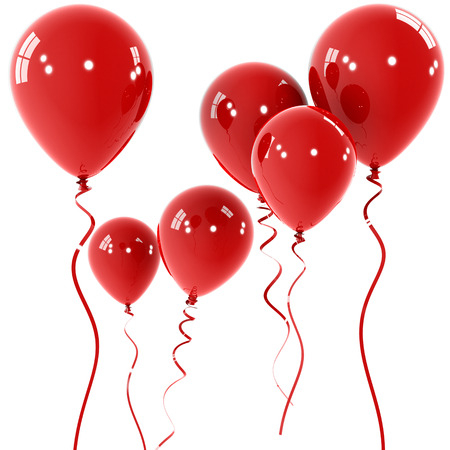 ballon: Red Balloons , computer generated image. Stock Photo