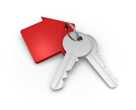 key chain: House Key Chain , 3d rendered image. Stock Photo