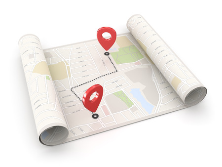 Ort Punkt auf der Karte Standard-Bild - 41973144