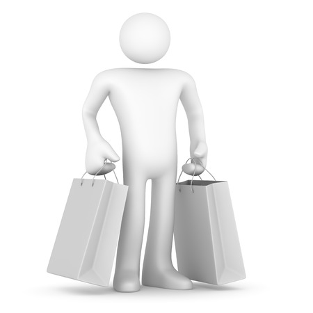 strichmännchen: Mann mit Einkaufstasche.