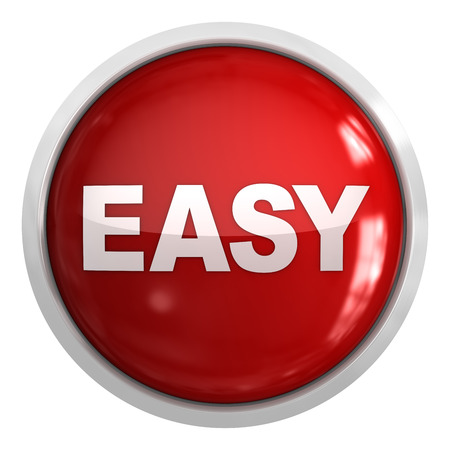 Easy button , isolated on white. Фото со стока