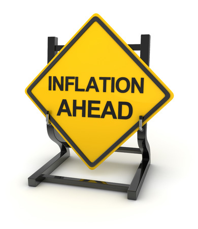 risks ahead: Road sign - inflation ahead , isolated on white.