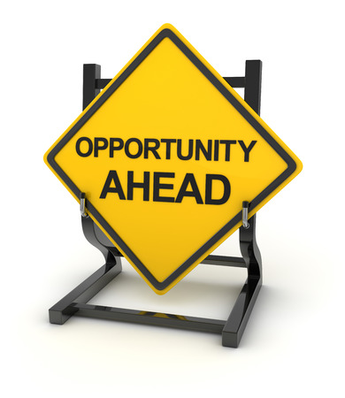 opportunity concept: Road sign - opportunity ahead , 3d rendered image.