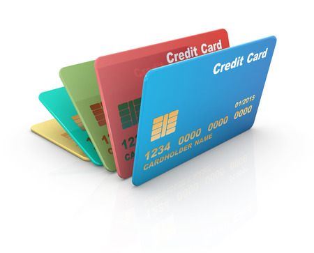 tarjeta de credito: Tarjeta de cr�dito colorido, aislado en blanco. Foto de archivo