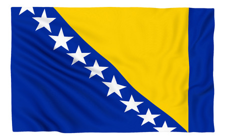 bosnia: Flag of Bosnia and Herzegovina , isolated on white.