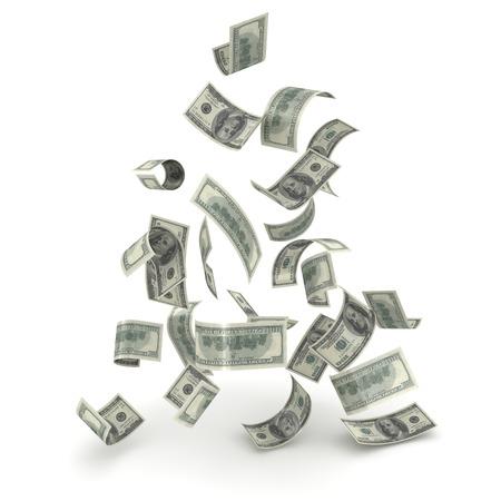 dinero volando: La ca�da de Finanzas  Foto de archivo