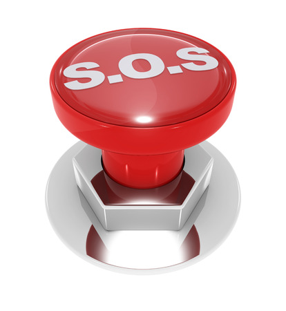 Sos button - isolated on white.