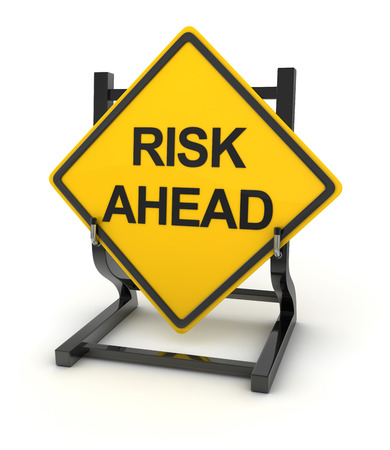 business risk: Road sign - risk ahead , 3d rendered image. Stock Photo