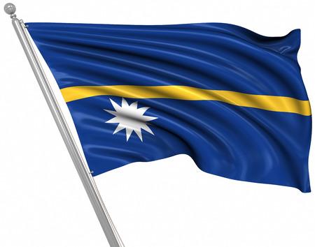nauru: Flag of Nauru , isolated on white. Stock Photo