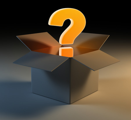 questionmark: Question mark in box , 3d rendered image.