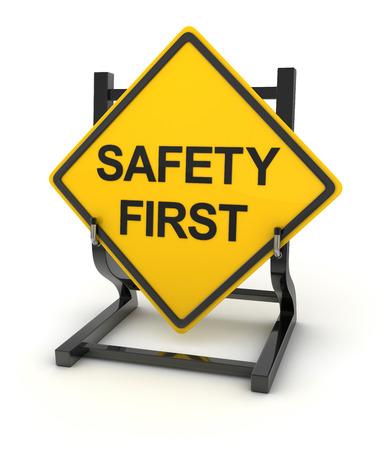 señales de seguridad: Muestra de camino - la seguridad primero, Esta es una imagen generada por ordenador y 3d prestados.