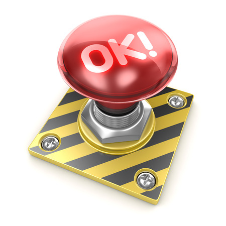 ok button: Ok! button , This is a computer generated and 3d rendered picture. Stock Photo
