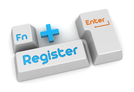 function key: Register button , This is a computer generated and 3d rendered picture.