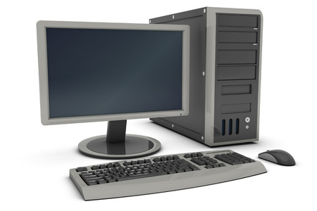computer equipment: Desktop PC , This is a computer generated and 3d rendered picture.