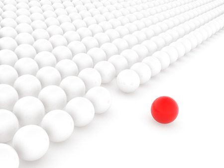 alone in crowd: Different ball , This is a computer generated and 3d rendered picture.
