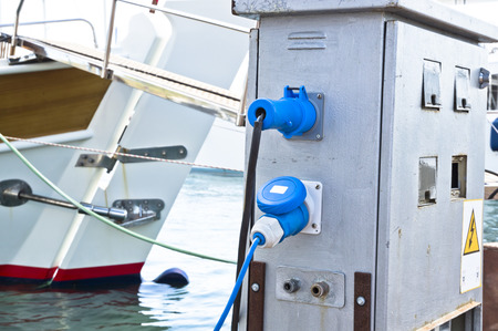 electricity supply: Electricity Supply for Yachts Stock Photo